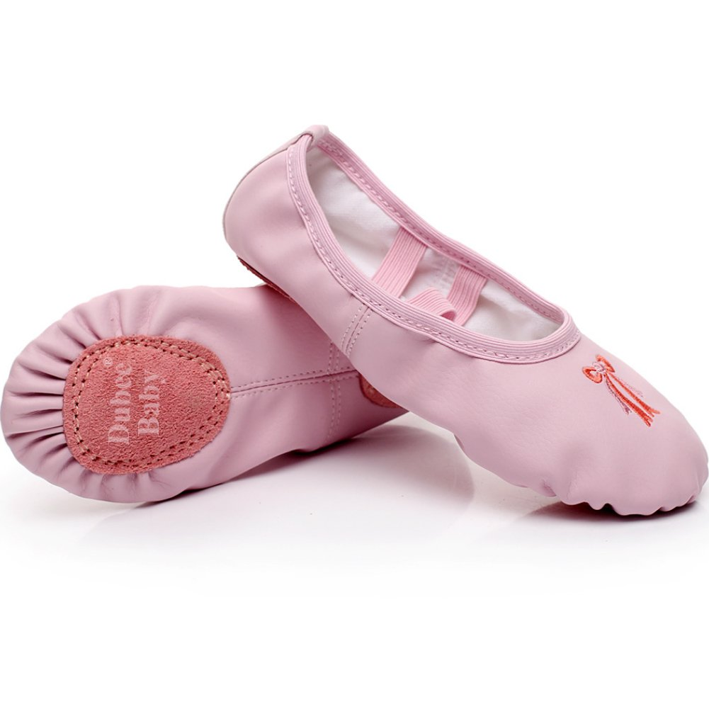 DubeeBaby Girls Leather Ballet Shoes Slippers Split Sole Flats for Toddlers Official Pink/Bowknot Foot Length  5.9 inch-Toddler 8.5M