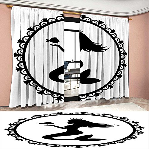 (Davishouse Mermaid Thermal Insulating Blackout Curtain Vintage Style Graphic Illustration of a Framed Princess Mermaid with Crown and Fish Patterned Drape For Glass Door Black White)