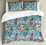 Ambesonne Space Duvet Cover Set Queen Size, Hand Drawn Astronauts with Rockets and Moon People in The Space Doodle Sketch Style, Decorative 3 Piece Bedding Set with 2 Pillow Shams, Multicolor