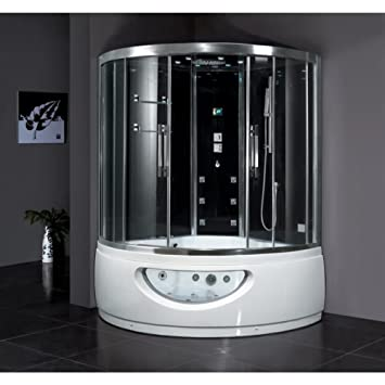 Ariel Platinum DA333F8 Steam Shower With Whirlpool Bathtub 59x59x89