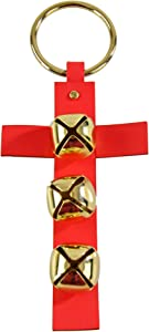 Home-X Hanging Sleigh Bells on a Cross, Jingle Bell Christmas Décor, Door Hanger, Red and Gold 11