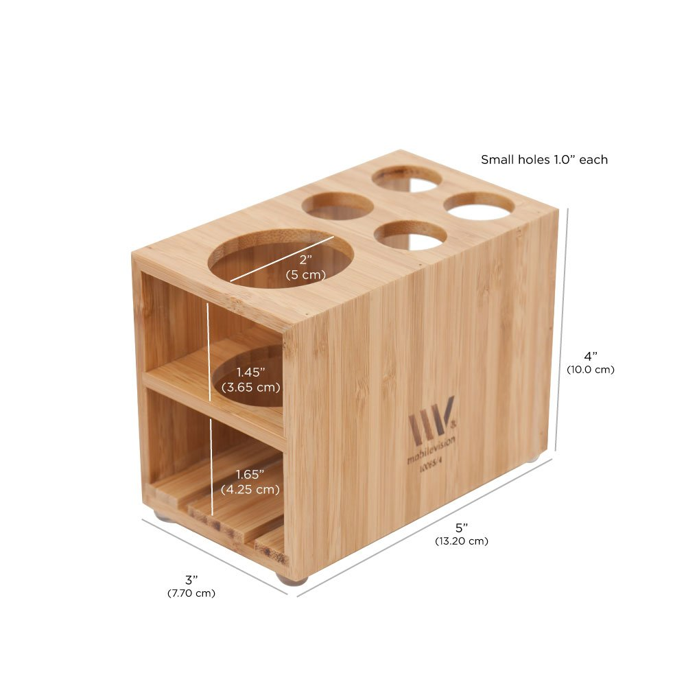 MobileVision Toothbrush and Toothpaste Holder Stand for Bathroom Vanity Storage, Bamboo, 5 Slots by MobileVision (Image #3)
