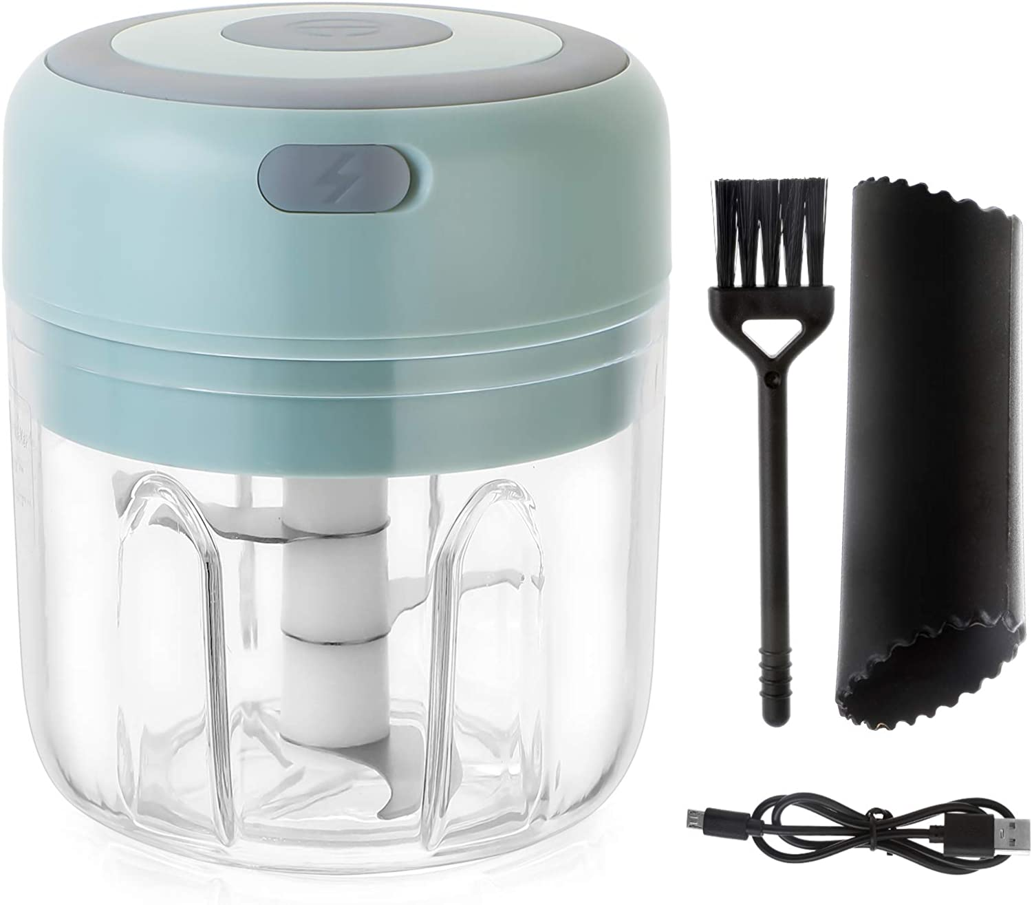 Electric Mini Garlic Masher with Garlic Peeler and Cleaning Brush 250ml Small Wireless Kitchen Food Masher Green Portable Kitchen Food Processor