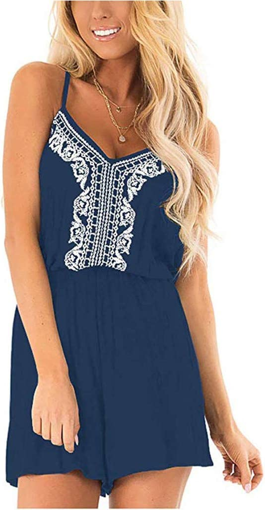 Womens Summer Short Jumpsuit Casual Loose Sleeveless V Neck Spaghetti Strap Overall Casual Jumpsuit Rompers