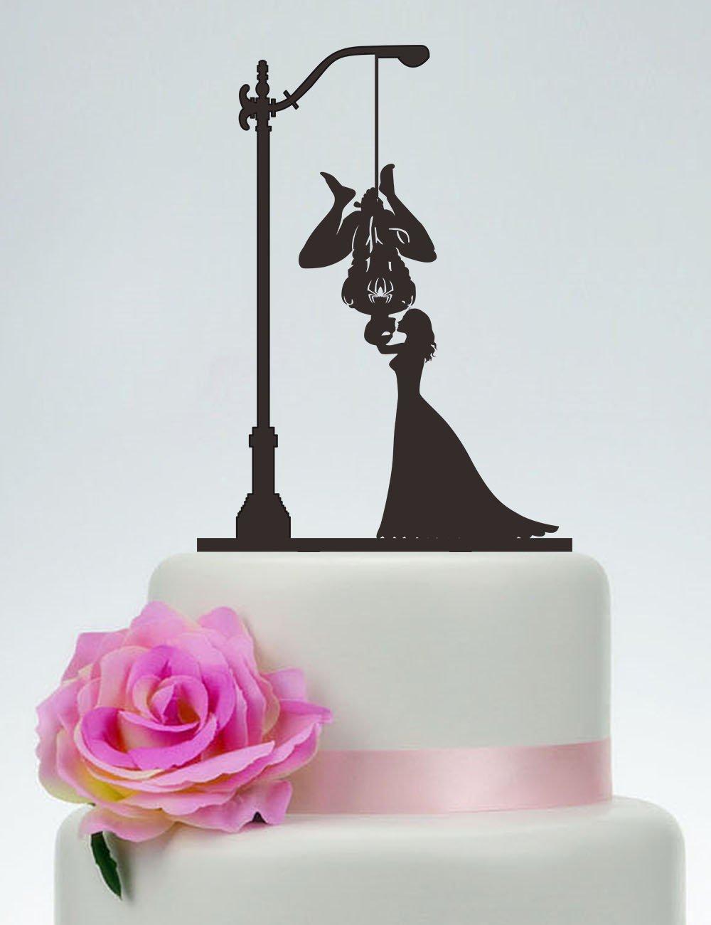 Spider-Man Cake Topper,Bride And Spider-Man Silhouette,Wedding Cake Topper,Couple Cake Topper,Kissing Cake Topper, Custom Cake Topper - P116