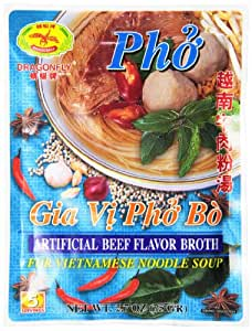 Dragonfly Instant Beef Broth for Vietnamese Noodle Soup, 2.7-Ounce (Pack of 6)