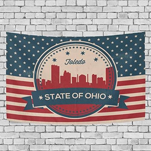 Vintage American Flag Ohio State Toledo Skyline Art Decoration, Bedroom Living Kids Girls Boys Room Dorm Accessories Wall Hanging Tapestry?60X40 - Eyeglasses Toledo