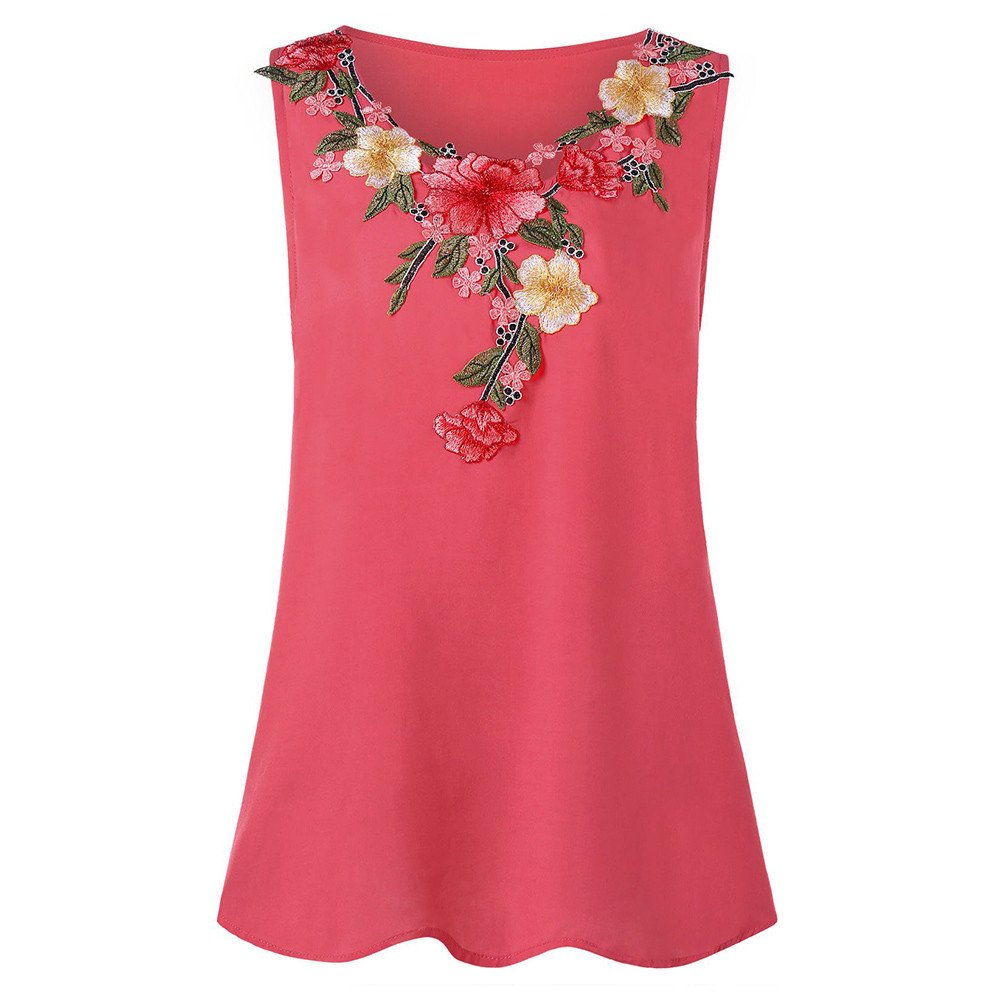 Women Embroidery Floral Vest Chiffon Polo Men Top Pink