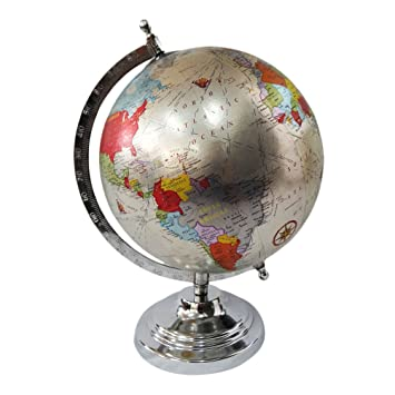 Buy world map globe with steel stand silver plastic ball round world map globe with steel stand silver plastic ball round shape interior table dcor showpiece 12 gumiabroncs Images