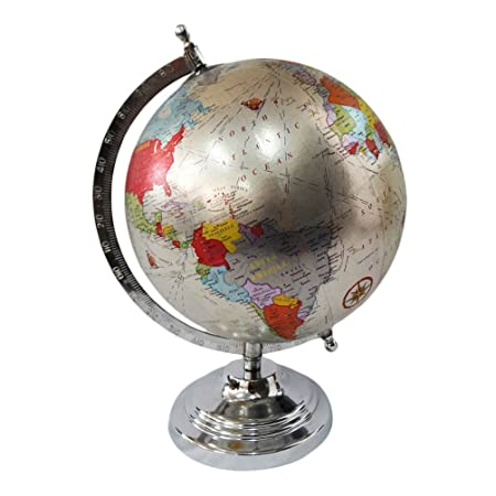 World map globe with steel stand silver plastic ball round shape world map globe with steel stand silver plastic ball round shape interior table dcor showpiece 12 gumiabroncs Images