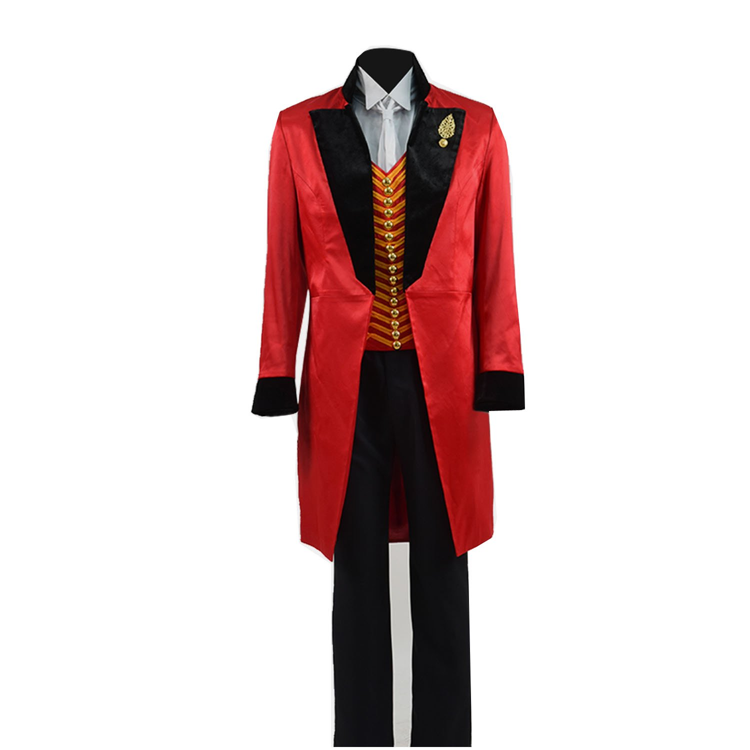TISEA Men's Circus King Stage Performance Suits Halloween Outfit Cosplay Costume (M, Red Black) by TISEA