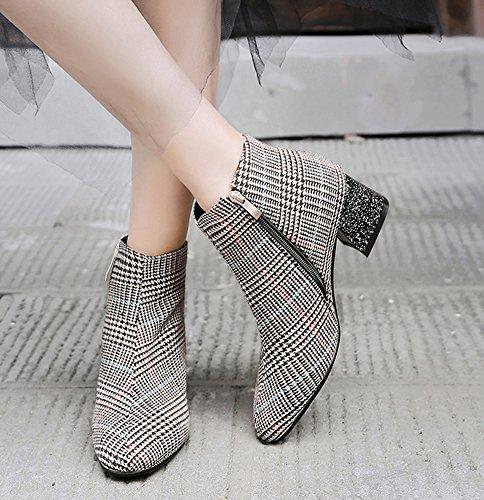 Carré Boots Mode Femme Low Aisun Brun Bout Carreaux Hiver Bottines RUqFWxfI