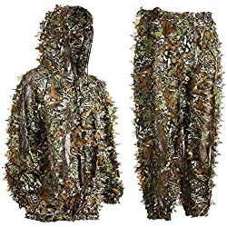 Eamber Ghillie Suit 3D Leaf Realtree Camo Camouflage Lightweight Clothing Suits for Jungle Hunting,Shooting, Airsoft, Wildlife Photography or Halloween