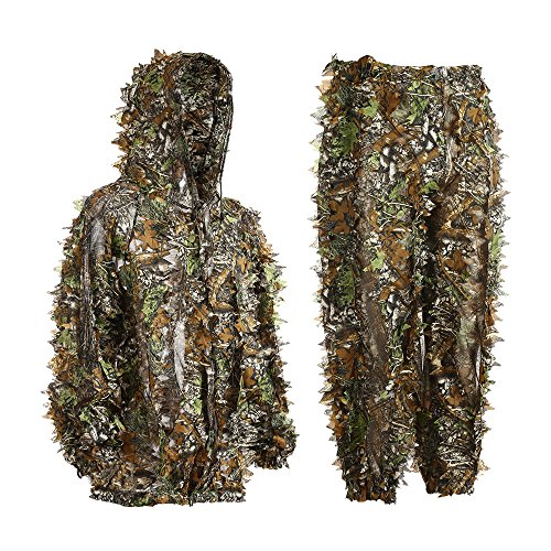 Eamber Ghillie Suit 3D Leaf Realtree Camo Camouflage Lightweight Clothing Suits for Jungle Hunting,Shooting, Airsoft, Wildlife Photography or Halloween (Button Design for Height Under 6')