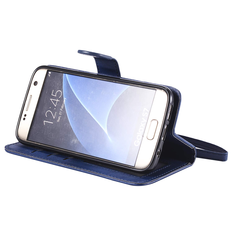 NEKTU20219 Schwarz G930 H/ülle Leder NEXCURIO Samsung Galaxy S7 Handyh/ülle Tasche Leder Flip Case Brieftasche Etui mit Kartenfach Sto/ßfest Kratzfest Schutzh/ülle f/ür Samsung Galaxy S7