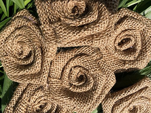 30pcs Handmade Burlap Roses Flowers DIY Scrapbooking Findings Bridal Boutique Craft Shabby Chic Christmas Decoration (No Lace) ()