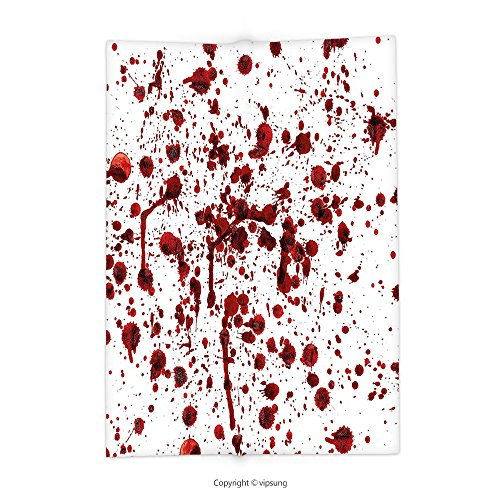 vipsung Throw Blanket with Bloody Splashes of Blood Grunge Style Bloodstain Horror Scary Zombie Halloween Themed Print Decor Red White Super Soft and Cozy Fleece Blanket -