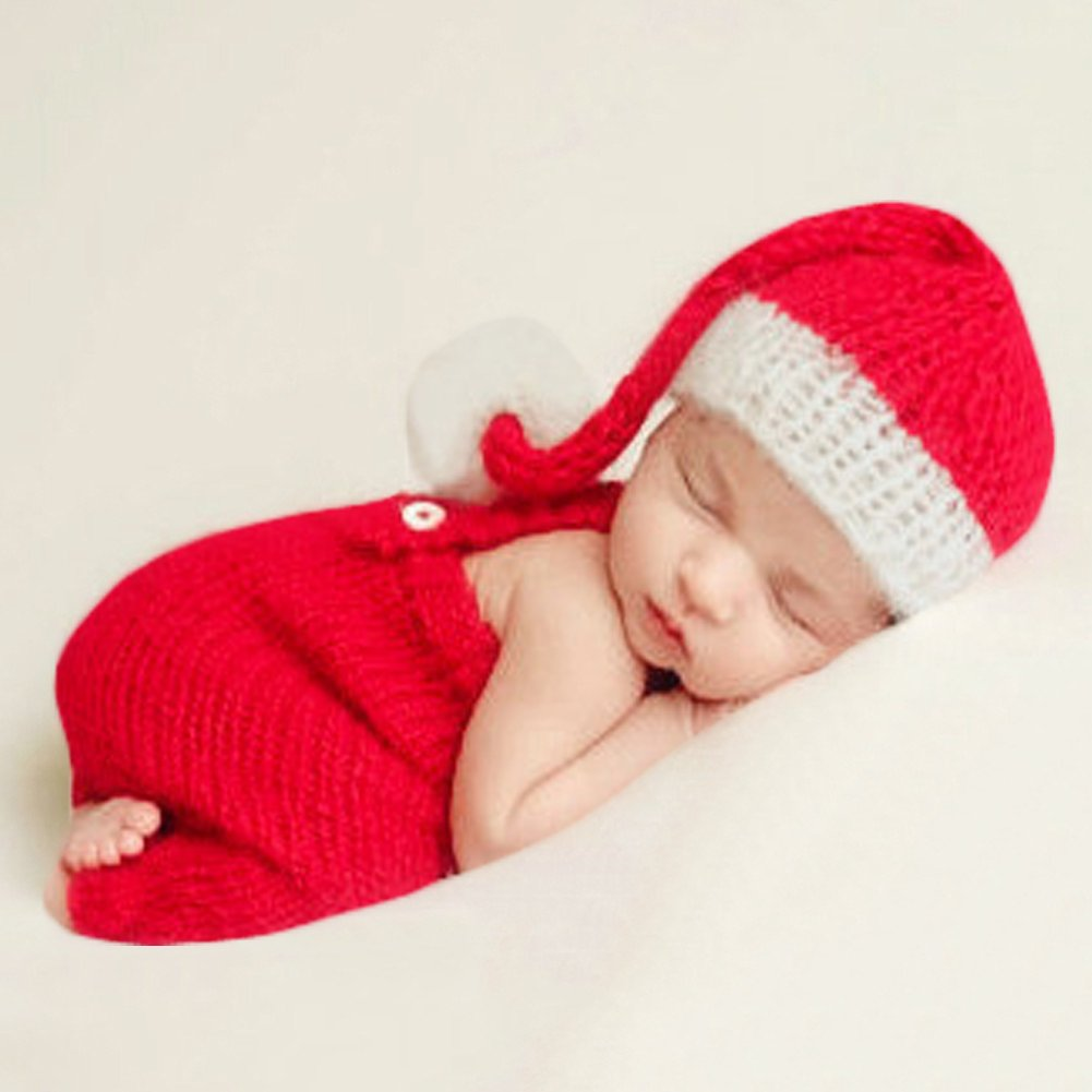 Amazon com baby photography props boy girl photo shoot outfits newborn crochet costume infant knitted christmas clothes hat rompers red clothing