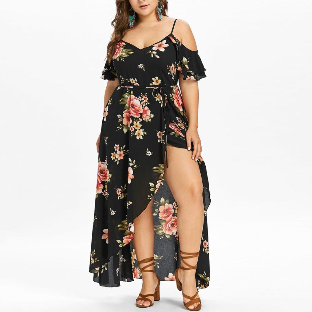 Vestidos de Mujer, ASHOP Vestido Verano 2019 Hombro frío Casual Ajustados T-Shirt Vestido Coctel Fiesta Largo Dress Estampado de Flores Playa Falda ...