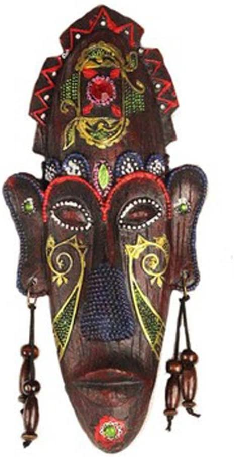 George Jimmy Small Carved African Mask Wall Hanging Africa Decor Wall Art Mask for Home/Bar/Store/Pub, F