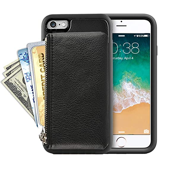 20e4003099b iPhone 6s Case Zipper Wallet, iPhone 6 Leather Case with Kickstand, LAMEEKU  Shockproof Apple 6S Credit Card Holder Slot Cases, Protective Stand Cover  for ...