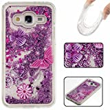 KSHOP Samsung Galaxy G360 Glitter Bling soft TPU Case 3D Creative Flowing Floating Water Liquid Swimming Small star Design Luxury Sparkly Bling Glitter Hard Plastic Transparent Clear Back Hard Shell Protective Case Cover with soft TPU bumper for Apple-purple