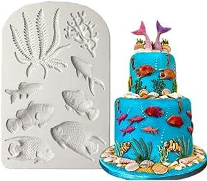 8 In 1 Chocolate Fish Seaweed Coral Marine Animal Border Fondant Baking Accessories Decorating Cake Mold DIY Non Stick Silicone Katoot (gray)