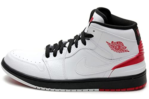 0b9d5c828e35 Nike Jordan Mens Air Jordan 1 Retro  86 White Black  Gym RED 644490 ...