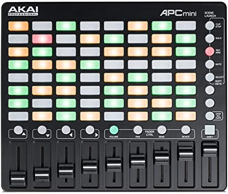 AKAI Professional APC MINI - controlador USB MIDI compacto y mezclador MIDI con disparador de clips de 64 botones para producción musical, integración ...