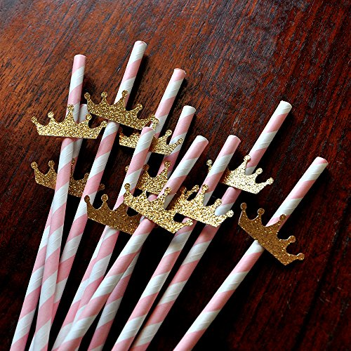 princess-party-supplies-pink-gold-crown-paper-party-straws-10ct