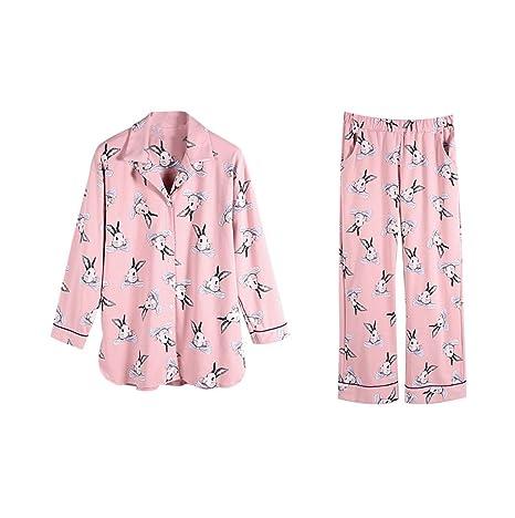 Pink Ladies Otoño y Invierno Algodón Ocio pijama chaqueta ...