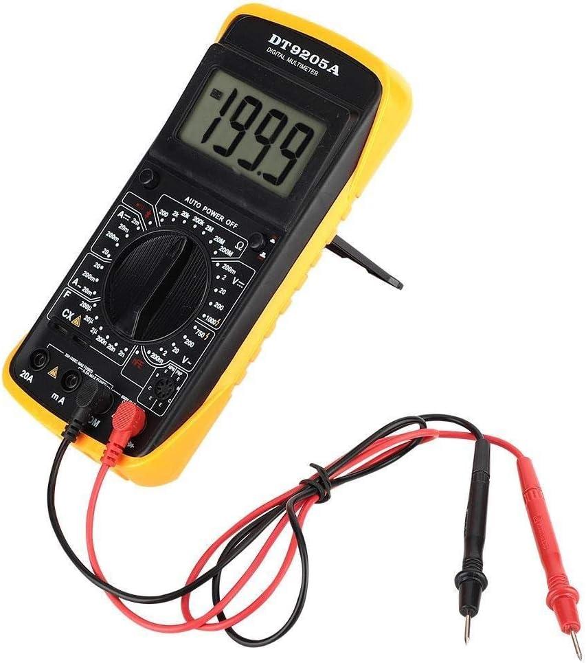 NIMOA Mult/ímetro Digital LCD port/átil de Mano DT-9205A AC//DC Voltaje Amp Ohm Capacitancia Hz Tester de Examen