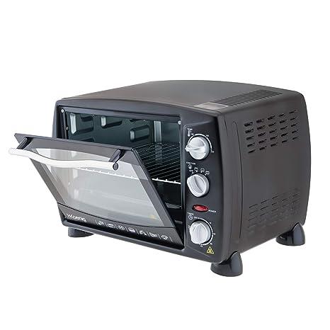 H.Koenig Mini Horno Eléctrico de Sobremesa, 18 litros, 1500 W, Temporizador hasta 60 min, 3 Modos cocción, Temperatura hasta 230 °C, Acero, Negro ...