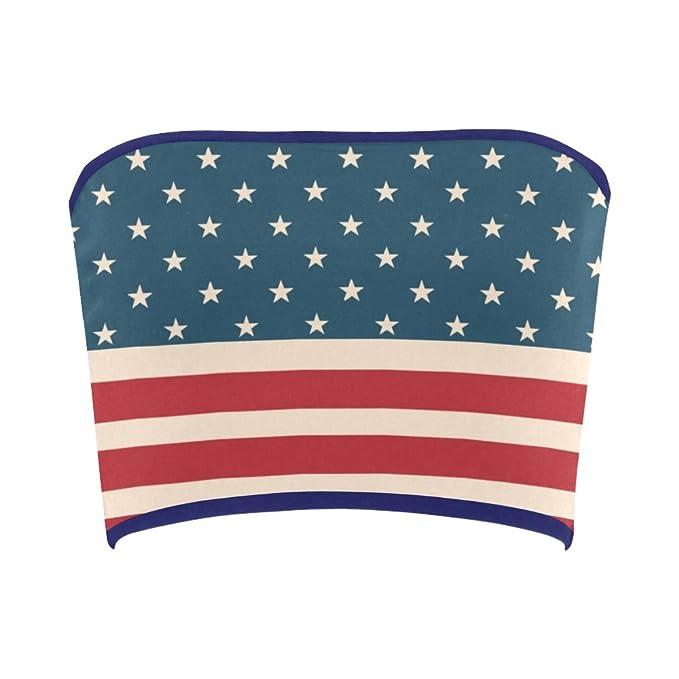 9e93df7d01 Women s Vintage Distressed American Flag Stars Stripes Tube Bra Bandeau Top  XS