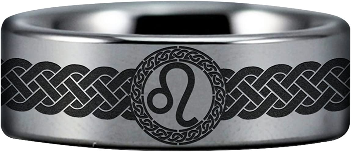 Friends of Irony Tungsten Carbide Leo Ring Fine Jewelry Designed Fit for Men and Women Use Wedding Band and Anniversary Ring Inspired by Astrology and Signs