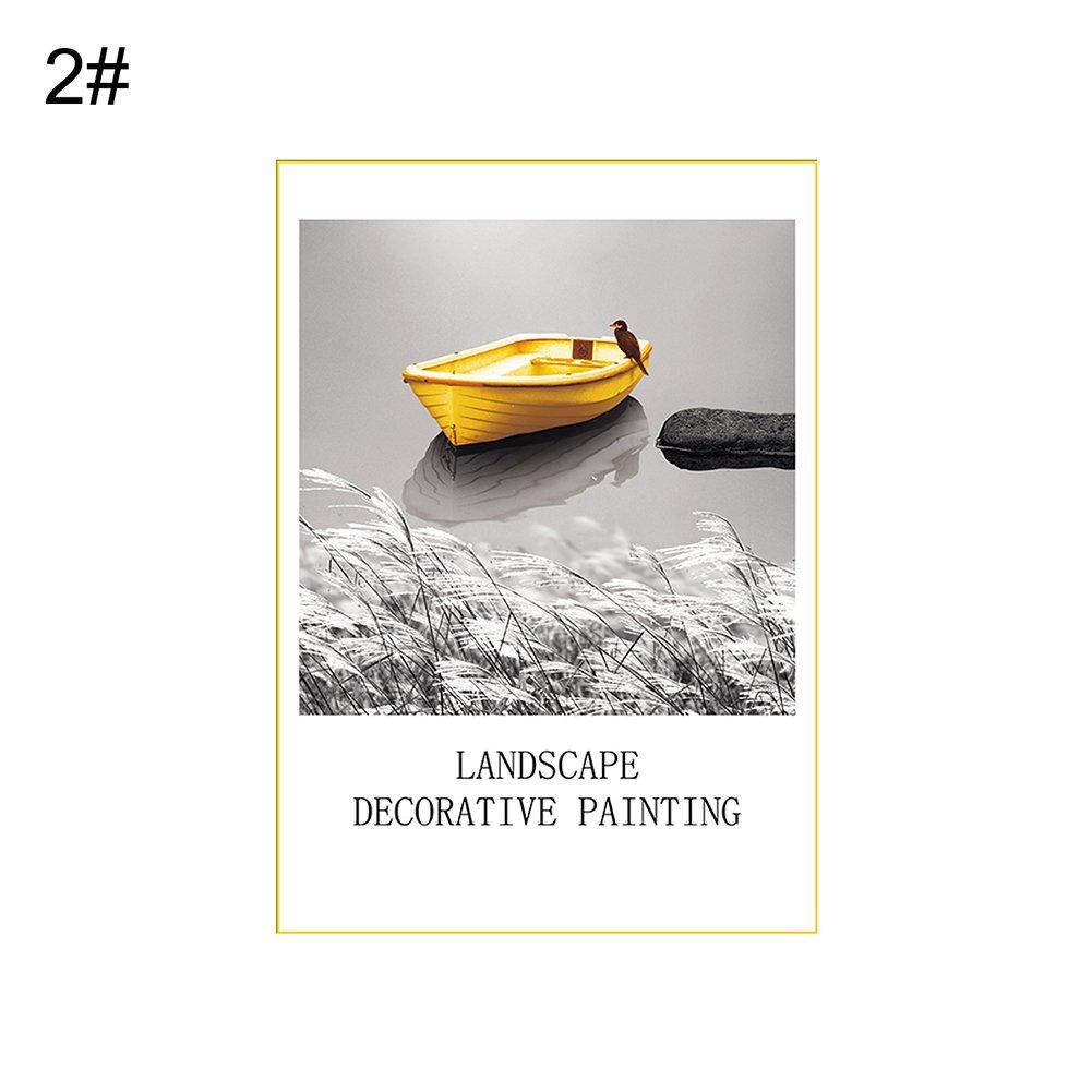 856store Creative Nordic Style Boat Landscape Decorative Canvas Painting Unframed Home Cafe Decor - 2# 21cm x 30cm
