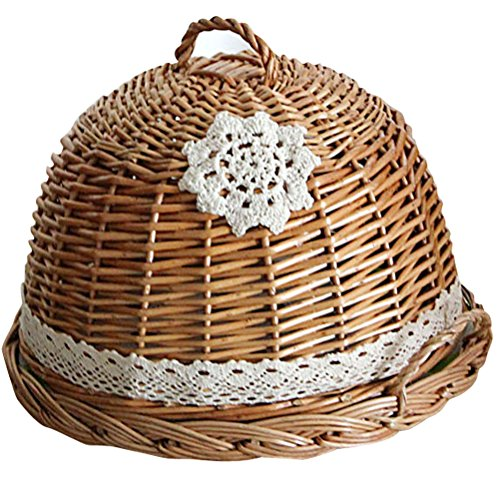 Coralpearl Round Woven Decorative Table Serving Tray Storage Organizer Holder with Food Cover Set Dome Lid for Kitchen,Restaurant,Picnic,Camping and Parties (Bugs Basket Wicker)