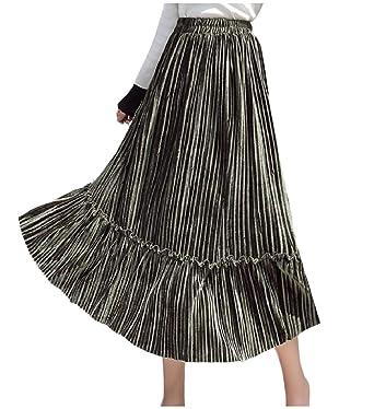 Andopa SuavePleuche Moda Volantes acogedor de cintura alta falda ...