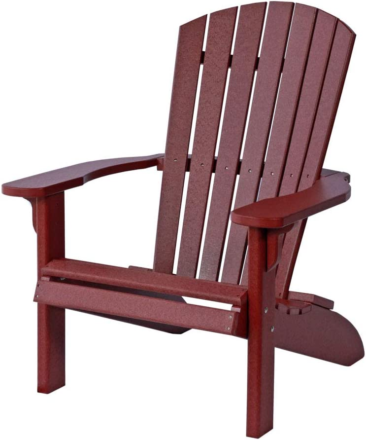 Poly Fan-Back Adirondack Chair, Burgundy