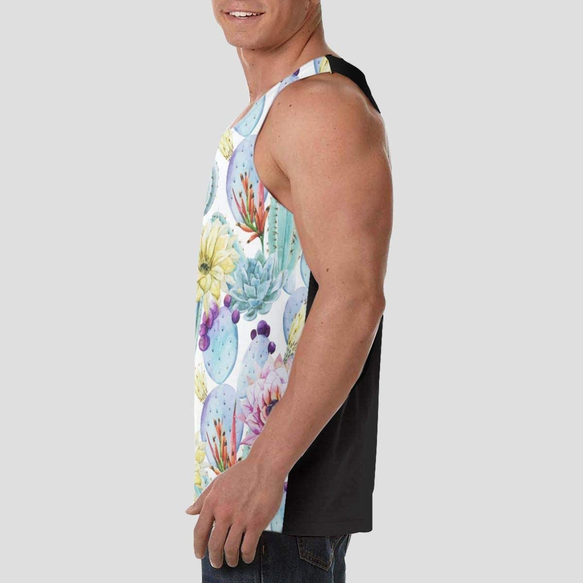 Active Athletic Sleeveless Undershirt for Youth /& Adult Men Boys Sweatproof Workout /& Training Activewear Tank Tops Vests Casual Soft Athletic Shirts LIN Cactus Succulents