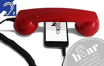 OPIS 60s Micro Hear: Auricular Retro para Usar con el teléfono móvil y audífono (Rojo): Amazon.es: Electrónica
