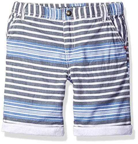 GUESS Little Boys' Cotton Twill Stripe Short, Blue/Multi Stripe, 2 (Twill Stripe Shorts Cotton)