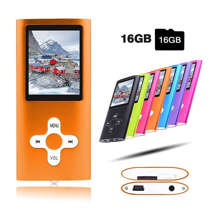 Crillutar Reproductor de música MP3/MP4 de 16 GB, Ranura para Tarjeta Micro SD de hasta 64 GB, Pantalla de 1,8 Pulgadas,reproducción de Video Musical, ...