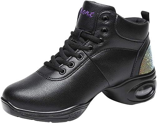 Xiedeai Mujer Deportes Zapatos de Baile - Dama Plataforma Dividir Sole Alto Top Microfibra Zapatos Cordones Malla Zapatillas Peso Ligero Entrenadores Jazz (Los Zapatos Son Más Pequeños): Amazon.es: Zapatos y complementos
