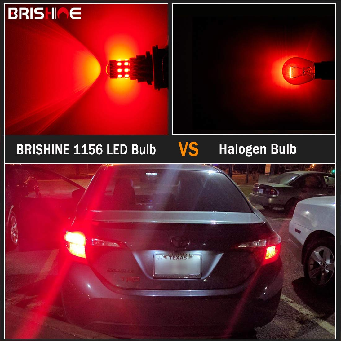 Turn Signal Lights BRISHINE 4-Pack Super Bright 1156 1073 1141 7506 BA15S LED Bulbs Brilliant Red 9-30V Non-Polarity 24-SMD LED Chipsets with Projector for Brake Tail Lights