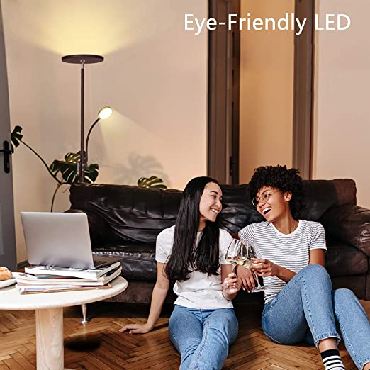 Soarz Torchiere Floor Lamp with Adjustable Reading Lamp,2000lumen Main Light and 400lumens Side Reading Light for Living Room Work with Remote Control Brown Bedroom Office LED Floor Lamp
