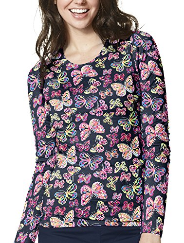 Flutter Cuff (WonderWink Women's Layers Printed Long Sleeve Tee, Flutter Bunch, Large)