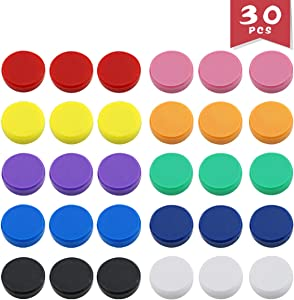 DLOnline 30 Pack Office Supplies Magnets,Round Refrigerator Magnets,Whiteboards, Lockers, or Fridge Magnets (Assorted 10 Colors) Refrigerator Magnets,Fridge Magnets,Lockers Magnets,Whiteboards Magnets