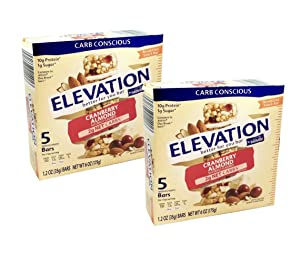 Millville Elevation Protein Bars Snack Endulgent Treat 1.4oz Bars 5g Protein (Cranberry Almond, 2 Pack (10 Bars))