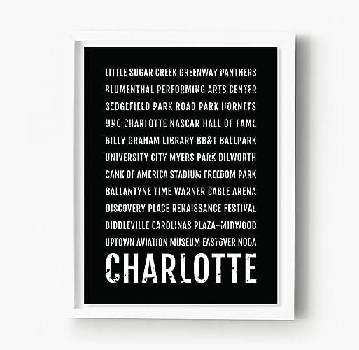 Freedom Park Charlotte Nc Map.Amazon Com Charlotte North Carolina Print Neighborhoods Subway